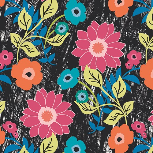 Jungle Ave Floral Asphalt VOILE