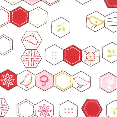 Hexagon Birds in White