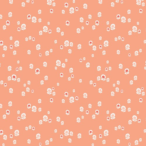 Geometric Bliss Spherical Buds in Peach VOILE
