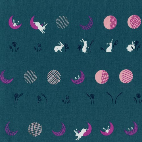 Moon Bunnies in Teal