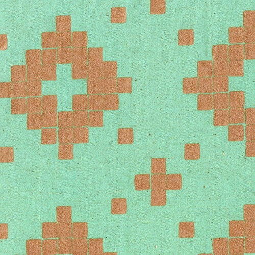 Canvas Tile in Aqua and Metallic Copper