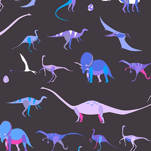 Star chart in blue natural history lizzy house for Purple dinosaur fabric