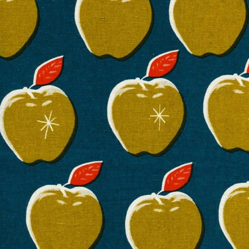 Canvas Apples in Teal/Mustard CANVAS