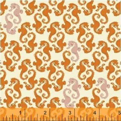 Seahorses in Cream Orange