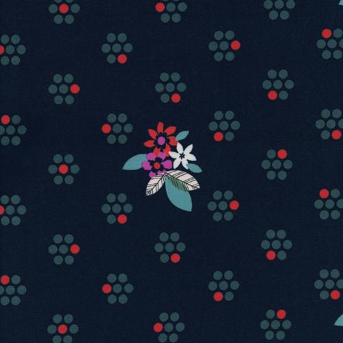 Fruit Blossoms in Navy