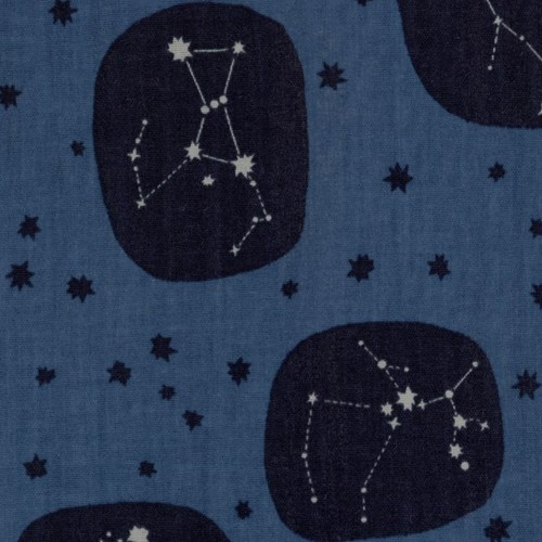Trefle Cucito Constellations in Blue DOUBLE GAUZE