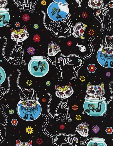 Cat Skeletons and Fishbowls in Black