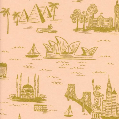 City Toile in Peach Metallic LAWN