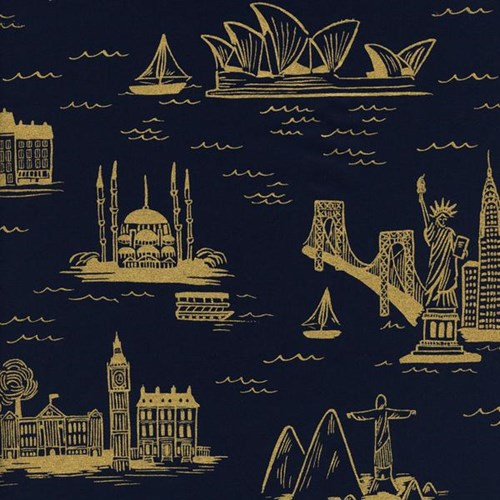 City Toile in Navy Metallic LAWN