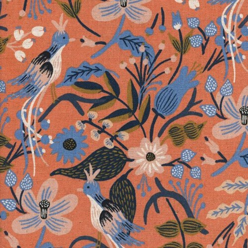 Folk Birds in Peach CANVAS