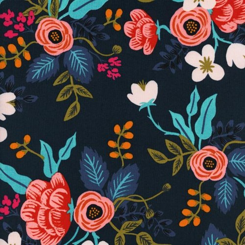 Birch Floral in Navy RAYON