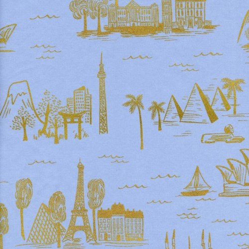 City Toile in Pale Blue Metallic LAWN