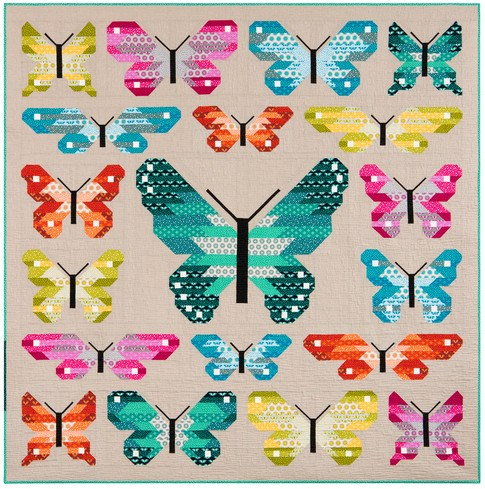 Lepidoptera Quilt Kit Using Paintbox Basics by Elizabeth Hartman
