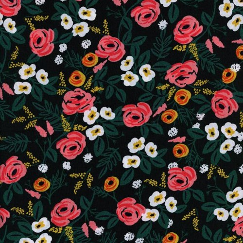 Painted Roses in Black RAYON