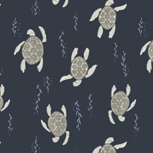 Swimming Turtles in Navy