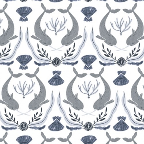 Narwhal Damask in White