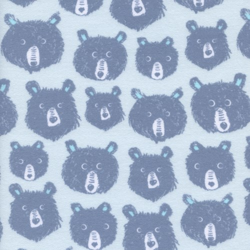 Teddy and the Bears in Blue BRUSHED COTTON