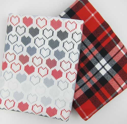 Whole Cloth Quilt Kit - Valentines Day - Cross Stitched Hearts and Mammoth Flannel