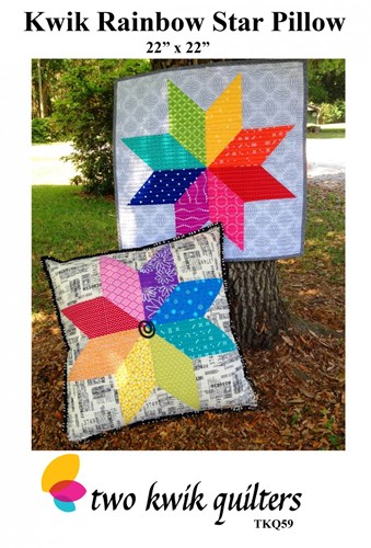 Kwik Rainbow Star Pillow Pattern by Two Kwik Quilters