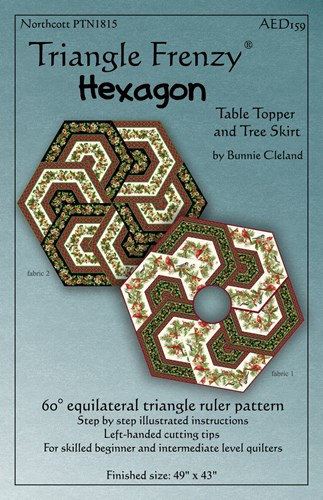 Triangle Frenzy Hexagon Table Topper and Tree Skirt by Bunnie Cleland