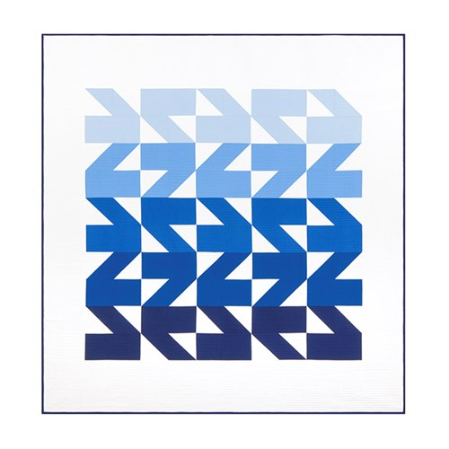 Modern Waves Quilt Kit in Blue - Throw Size - Initial K Studios