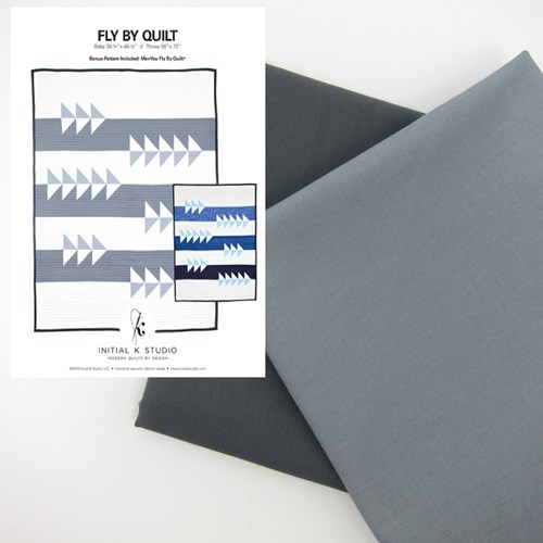 Fly By Quilt Kit in Gray - Throw Size - Initial K Studio