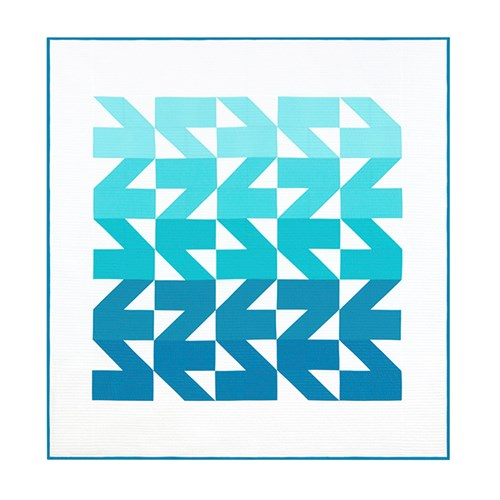 Modern Waves Quilt Kit in Sea Green - Throw Size - Initial K Studios