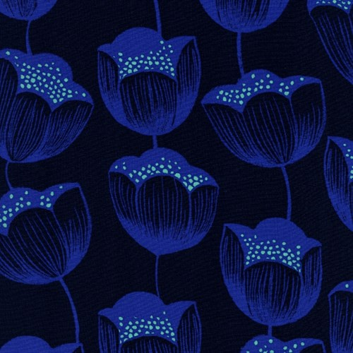 Magic Tulips in Navy RAYON