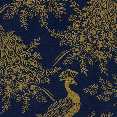Royal Peacock in Metallic Navy CANVAS