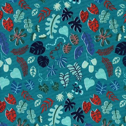 Leafy Wonder in Teal UNBLEACHED COTTON