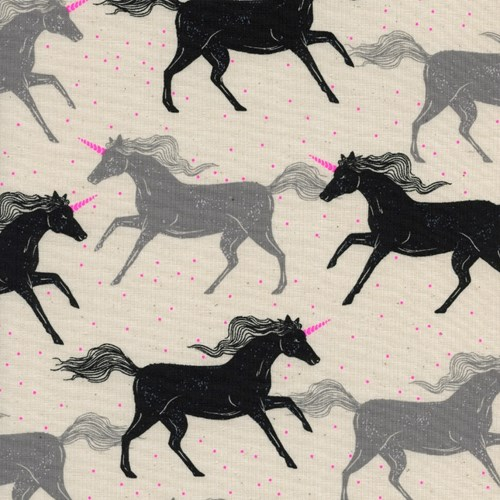 Unicorns in Noir NEON UNBLEACHED COTTON