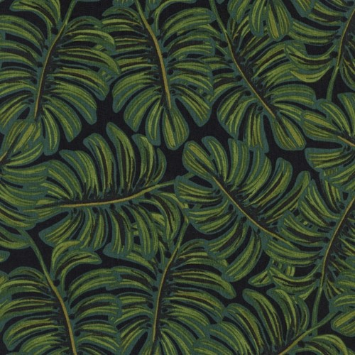 Monstera in Midnight RAYON LAWN