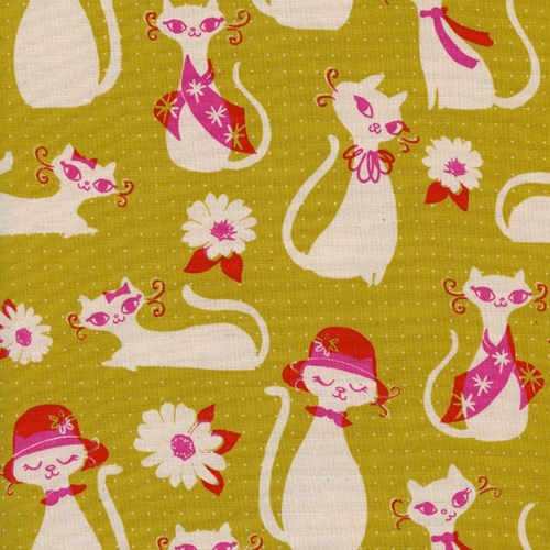 Fancy Cats in Yellow UNBLEACHED COTTON