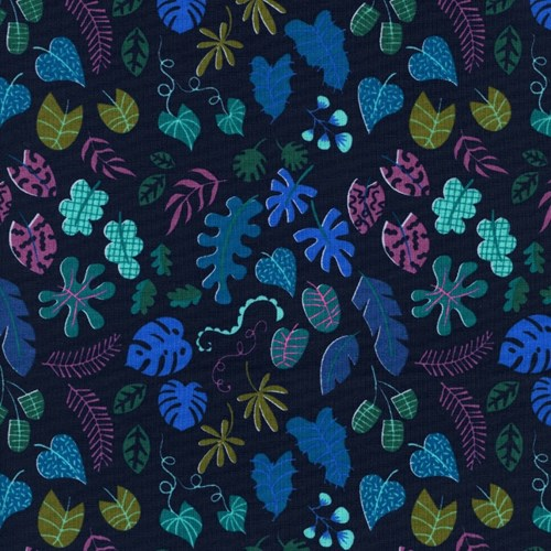 Leafy Wonder in Navy NEON UNBLEACHED COTTON