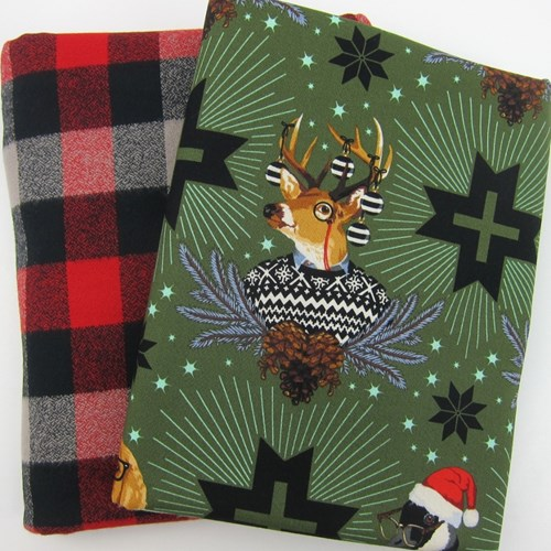 Whole Cloth Quilt Kit - Holiday Homies and Mammoth Flannel