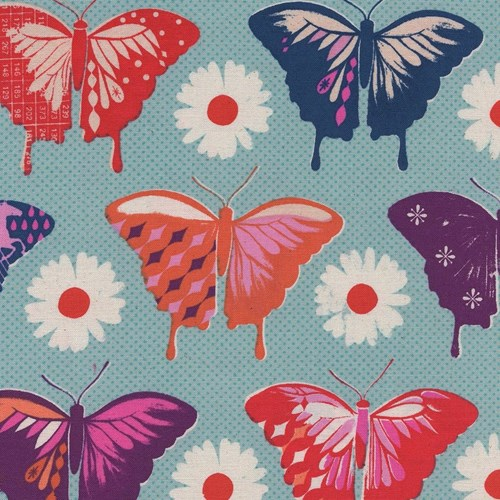Butterflies in Aqua UNBLEACHED COTTON