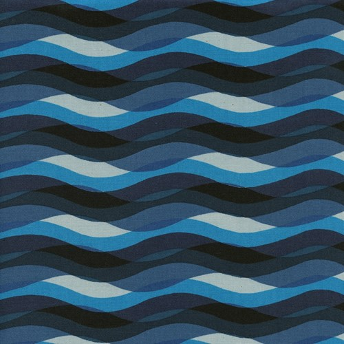 Waves in Blue UNBLEACHED COTTON