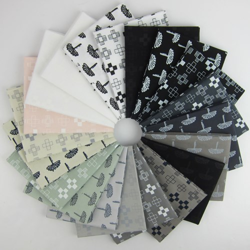 Blueberry Park Neutral Fat Quarter Bundle by Karen Lewis Textiles