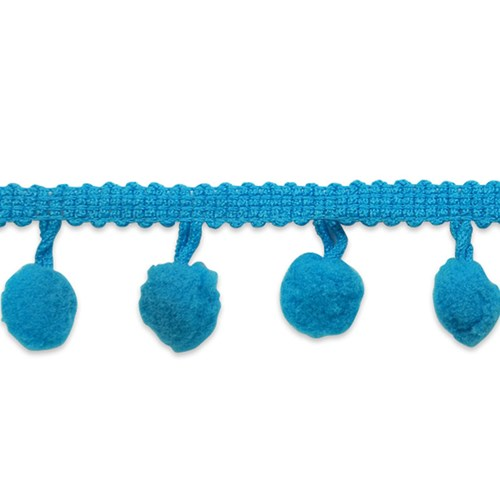 Pom Fringe Trim in Turquoise One Yard