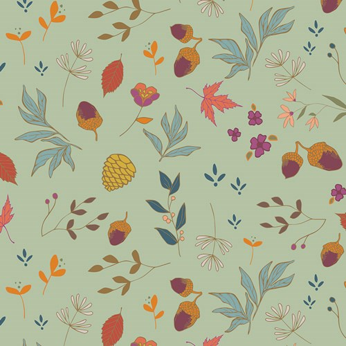 Acorns and Pinecones in Mint