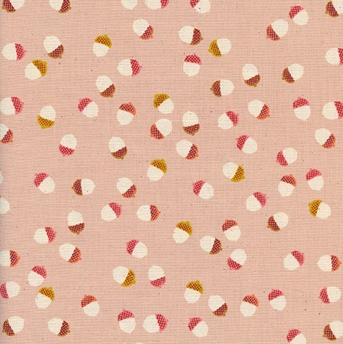 Acorns in Peach UNBLEACHED QUILTING COTTON
