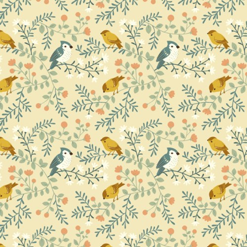 Birds and Branches in Cream