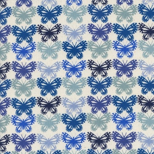 Butterflies in Blue Ribbon UNBLEACHED COTTON