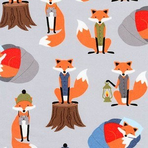 Camping Foxes FLANNEL in Rain