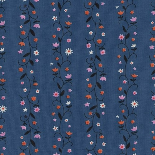 Daisy Vines in Denim UNBLEACHED COTTON