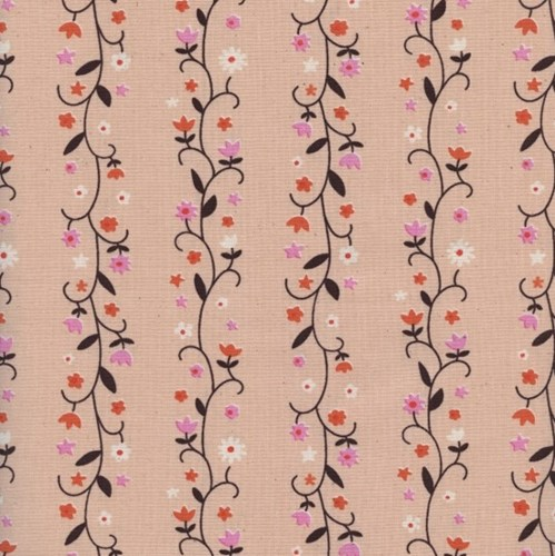 Daisy Vines in Peachy UNBLEACHED COTTON