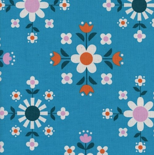 Florametry in Bright Blue UNBLEACHED COTTON