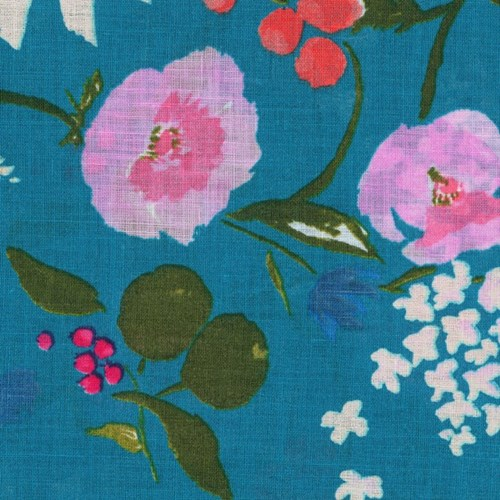 Garden in Blue LINEN SHEETING