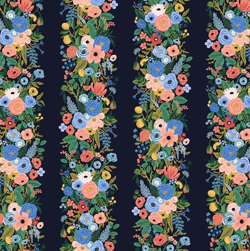 Garden Party Vines in Blue Rayon