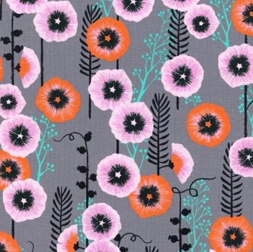 Hollyhocks in Grey